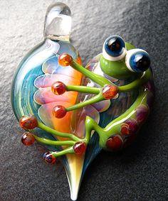 Bijoux de grenouille pendentif - collier de perle focal pendentif verre coeur Murano - Verre Boomwire