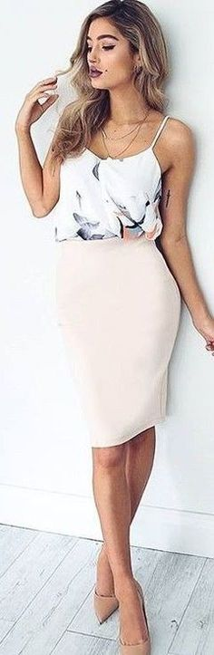 #fall #executive #peonies #outfits |  Floral 'Taking It Up' Top + Nude 'Shipshape' Skirt