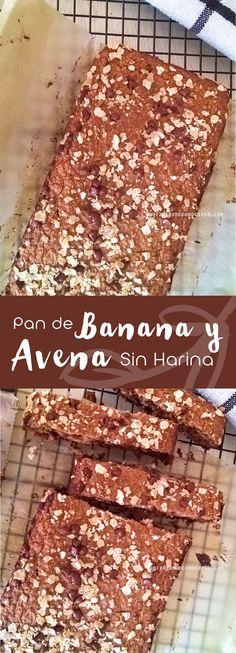 Pan de banana y avena sin harina refinada Banana and oatmeal bread without refined flour Healthy Recepies, Vegan Recipes Easy, Healthy Desserts, Raw Food Recipes, Sweet Recipes, Vegetarian Recipes, Cooking Recipes, Manger Healthy, Oatmeal Bread