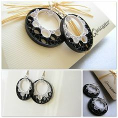 Quilling Earrings ♥ White Black Bubbles quilling