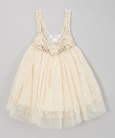 Look at this #zulilyfind! Ivory Crocheted Tulle Dress - Infant, Toddler Girls by Sweet Charlotte #zulilyfinds