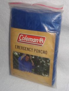 Coleman Blue Disposable One Size Fits All Emergency Poncho  #coleman