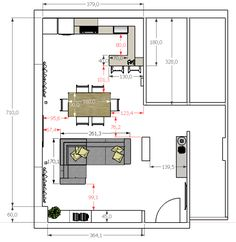 Today I am talking about one of the last projects I dedicated to, the client … – House Projects - Housing Projects for World Open Kitchen And Living Room, Narrow Living Room, Open Plan Kitchen Living Room, Kitchen Design Open, Open Space Living, Open Plan Living, House Extension Design, Lounge Design, Furniture Layout