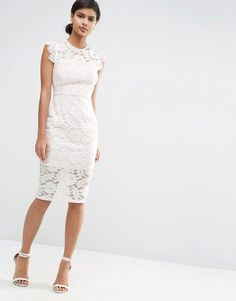 0caa68e8ac Asos Lace Pencil Dress With Contrast Lining Lace Sleeve Dresses