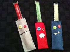 Monster popsicle snuggies, great for a summer monster party. Serve the kids some popsicles, but before hand let them make them own popsicle sunngie. Now you can keep those little hands feeling great! Not too cold, not too hot! Diy For Kids, Cool Kids, Crafts For Kids, Arts And Crafts, Sewing Crafts, Sewing Projects, Craft Projects, Craft Ideas, School Projects