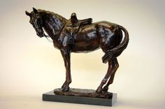 Bronze Horse Sculpture / Equines Race Horses Pack HorseCart Horses Plough Horsess sculpture by artist Lorne Mckean titled: 'Sidesaddle Mare called Milly (Small Little bronze statue statuettes)'