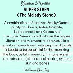 Super 7, melody stone Chakra Crystals, Crystals Minerals, Crystals And Gemstones, Stones And Crystals, Crystal Healing Chart, Crystal Guide, Healing Crystals, Crystal Uses, Crystal Magic