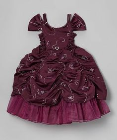 Dark Purple Floral Pickup Dress - Toddler & Girls by Growing Up on #zulily #baby #babies #clothes #clothing #shower #gift #infant #toddler #girl #girls #dress #christmas #holiday #pageant #church #party #thanksgiving #picture #photo #portrait #family #prop #outfit #dressup #card #cards #photography #princess #dance #Ballet #tutu #tulle #ballerina #gather #gathered #pickup #gown #ball #ballgown #masquerade #dark #purple #burgundy #wedding #flowergirl