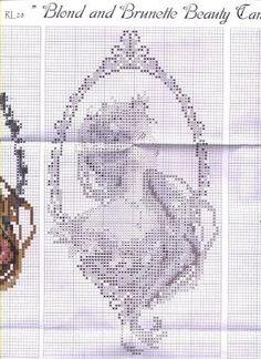 Cross-stitch Blonde & Brunette Lovely Cameos, part 4...  color chart on part 1...  Solo Patrones Punto Cruz