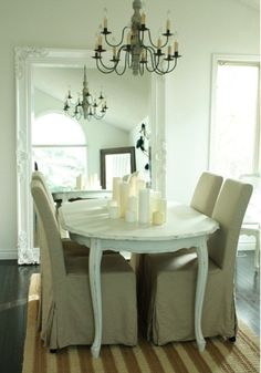 chandelier and large mirror are excellent! Also love the cluster of multiple colored white candles