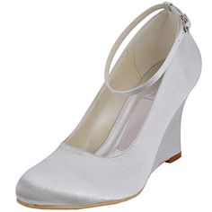 Minitoo GYMZ701 Womens Wedge High Heel White Satin Evening Party Prom Bridal Wedding Shoes Pumps Sandals Flatfs 12 M US * Click the image to visit the website