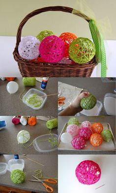 Yarn balls - Diy for Home Decor Kids Crafts, Yarn Crafts, Easter Crafts, Diy And Crafts, Craft Projects, Arts And Crafts, Craft Ideas, Craft Tutorials, School Projects