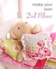 Quickly learn how to sew doll pillows with this easy tutorial. Plus link for doll blanket tutorial. The perfect finishing touch to your daughter's doll bed!