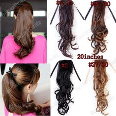 One Piece Clip On In Long Curly Curvy Wavy Ponytail Hair Extension Wrap