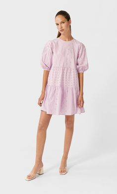 Vestido curto com bordado suíço - Novo de mulher | Stradivarius Portugal Embroidery Dress, Fashion Pictures, Women's Fashion Dresses, Ideias Fashion, Cold Shoulder Dress, Womens Fashion, Shopping, Gif, Poster