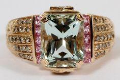 14KT ROSE GOLD AQUAMARINE & DIAMOND RING
