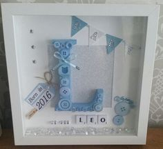 Most current Pic Personalized handmade baby name frame, souvenir gift birth christening boy / girl Strategies Got kids ? Then you understand that their stuff winds up practically all around the house! Scrabble Frame, Box Frame Art, Name Frame, Baby Box Frame Ideas, Deep Box Frames, Shadow Box Frames, Handmade Frames, Handmade Gifts, Shadow Box