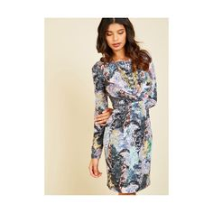 Yumi Mid-length Long Sleeve A-line Fresh Air to Spare Long-Sleeved... ($100) ❤ liked on Polyvore featuring dresses, apparel, fashion dress, multi, long sleeve sheath dress, mixed print dress, pleated a line dress, print sheath dress and long sleeve mid length dress
