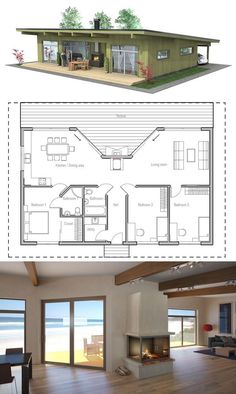 Small House Plan with three bedrooms.