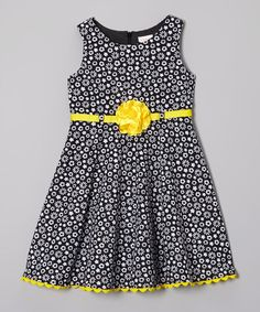 Loving this Youngland Black & Yellow Daisy Dress - Infant, Toddler & Girls on Newborn Girl Dresses, Little Dresses, Little Girl Dresses, Baby Dress, Cute Dresses, Kids Frocks, Frocks For Girls, Black Kids Fashion, African Dresses For Kids