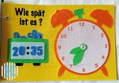 Telling time page with digital and analogue clocks. The Quiet Book Blog: Sabrina's Quiet Book