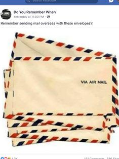 I remember sending a letter via air mail to a pen pal in England. ** I used to buy a lot of these.