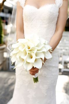 Chloe and David wanted a clean, monochromatic palette of all white. Sleek white calla lilies were the perfect modern choice for the bouquets and ceremony decor. Calla Lillies Centerpieces, Calla Lillies Bouquet, Calla Lily Bridal Bouquet, Calla Lillies Wedding, White Lily Bouquet, Tulip Bouquet, Lilly Bouquet Wedding, White Wedding Bouquets, Marie