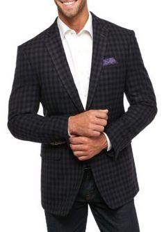 Tallia Orange BlackGray Slim Fit Wool Check Sport Coat