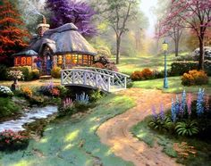 pictures of cottages | Thomas Kinkade Friendship Cottage painting | framed paintings for sale