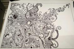 Work in progress #zentangle #doodle #sharpie #intricate #detaileddesign #doodleart #zenart #zenartist #blackandwhite #detail #sharpieart