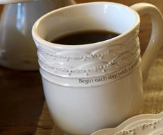 Message: Begin each day with a grateful heart. Features the key verse: Our God we give you thanks. I CHRONICLES 29:13 NIV, on the bottom. 12oz. ceramic mug with the scalloped design and a touch of hand-painting on the top in warm grey for a vintage look. Microwave and Dishwasher Safe.