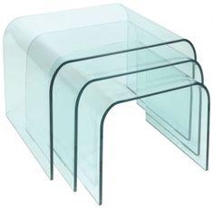 Greenapple Pure Glass Arc Nest of Tables GA102
