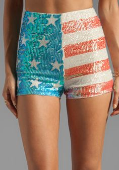 WILDFOX COUTURE White Label American Glitter Sequin Shorts in Nude - Wildfox Couture