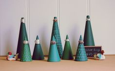 my painted 'pine tree' display cones for rings and bracelets