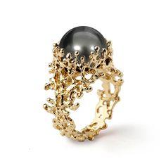 CORAL Tahitian Pearl Ring, Gold Pearl Engagement Ring, Black Pearl Engagement Ring, Unique Engagement Ring, Unique Pearl Ring by arosha on Etsy https://www.etsy.com/listing/523515961/coral-tahitian-pearl-ring-gold-pearl
