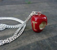 Love this! Small IOU Apple Necklace  Moriarty BBC Sherlock by Geeekalicious, $11.00