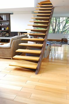 Lovely, cantilevered steel and wood stairs Interior Staircase, Stairs Architecture, Staircase Design, Interior Architecture, Interior And Exterior, Metal Stairs, Modern Stairs, Dream Home Design, House Design