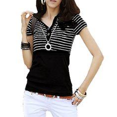 Allegra K Lady Short Sleeve Striped Pullover Button-down Shirt Black White XS Allegra K. $8.63
