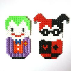 Joker and Harley Quinn perler beads by waylinekane