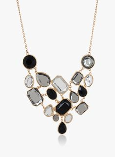 Elegant and classy, this black coloured necklace from Fayon will add bling to your look. #StatementJewelry #Black #Necklace #Party