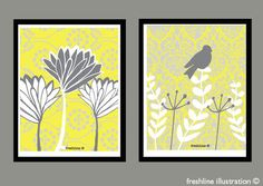 Yellow and Gray Wall Decor Set  Set of Two 8x10 Art by Freshline, $29.95