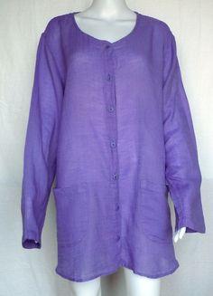 FLAX SUNSHINE Sun Cardi Top, Wisteria Voile, Purple, L, NWOT #Flax #Blouse #Casual
