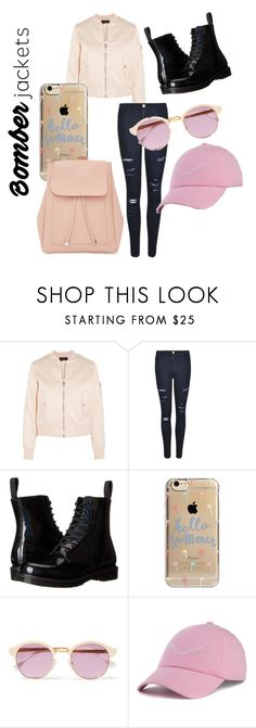 """Pink Chic✨"" by chanelyy ❤ liked on Polyvore featuring Maje, Frame Denim, Dr. Martens, Agent 18, Sheriff&Cherry, Dimepiece, New Look and bomberjackets"