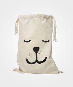 Tellkiddo Sleeping Bear Fabric Bag White