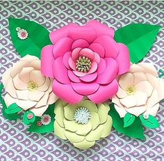 DIY 3D Paper floral Wall Decor Home & Living by CatchingColorFlies