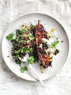 harissa roasted eggplant with black lentil and herb salad