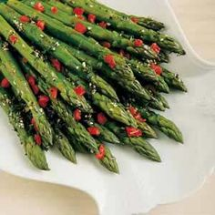 Dilly Asparagus Recipe - Asparagus, pimientos, cider vinegar, olive oil, sugar, parsley, minced onion, dill weed, salt, pepper.