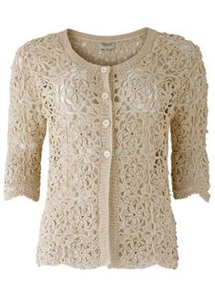 Naomi Crochet Cardigan - off this product Gilet Crochet, Crochet Wool, Crochet Shirt, Crochet Jacket, Crochet Cardigan, Irish Crochet, Mode Crochet, Crochet Fashion, Crochet Clothes