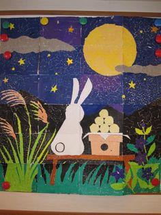 ちぎり絵 お月見 Art Activities For Kids, Preschool Art, Painting For Kids, Art For Kids, Diy And Crafts, Crafts For Kids, Japanese Folklore, Bunny Art, 1920s Art Deco