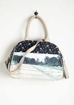Cause a Racquet Bag. Stir up a delightful commotion with this navy-blue handbag by Nice Things. #blue #modcloth